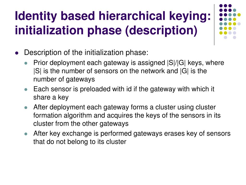 Identity based hierarchical keying: initialization phase (description)