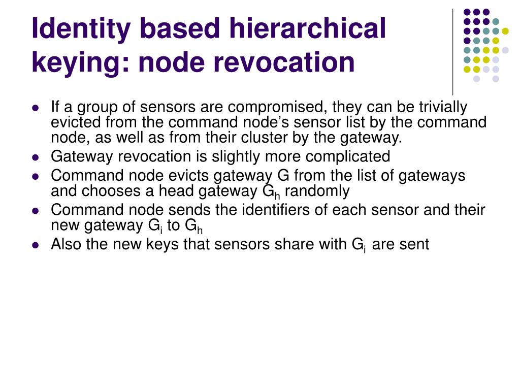 Identity based hierarchical keying: node revocation