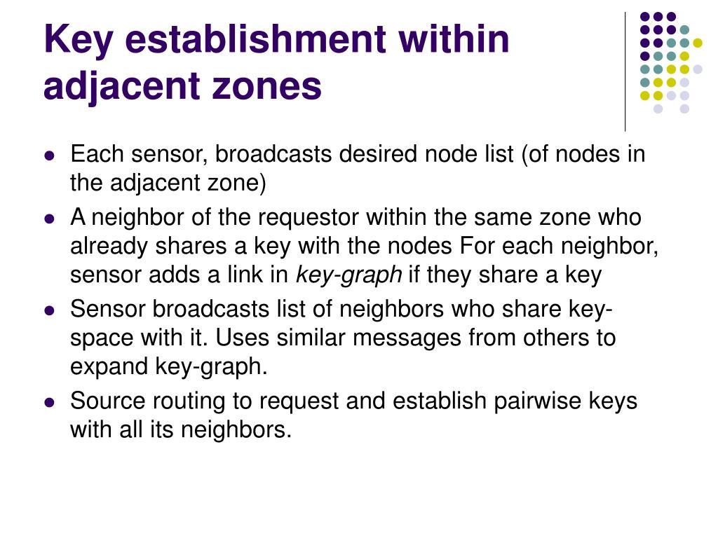 Key establishment within adjacent zones