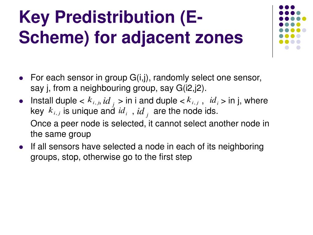 Key Predistribution (E-Scheme) for adjacent zones