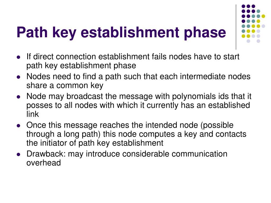 Path key establishment phase