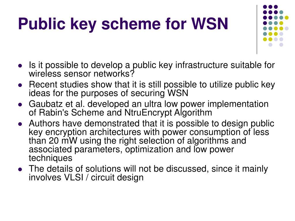 Public key scheme for WSN