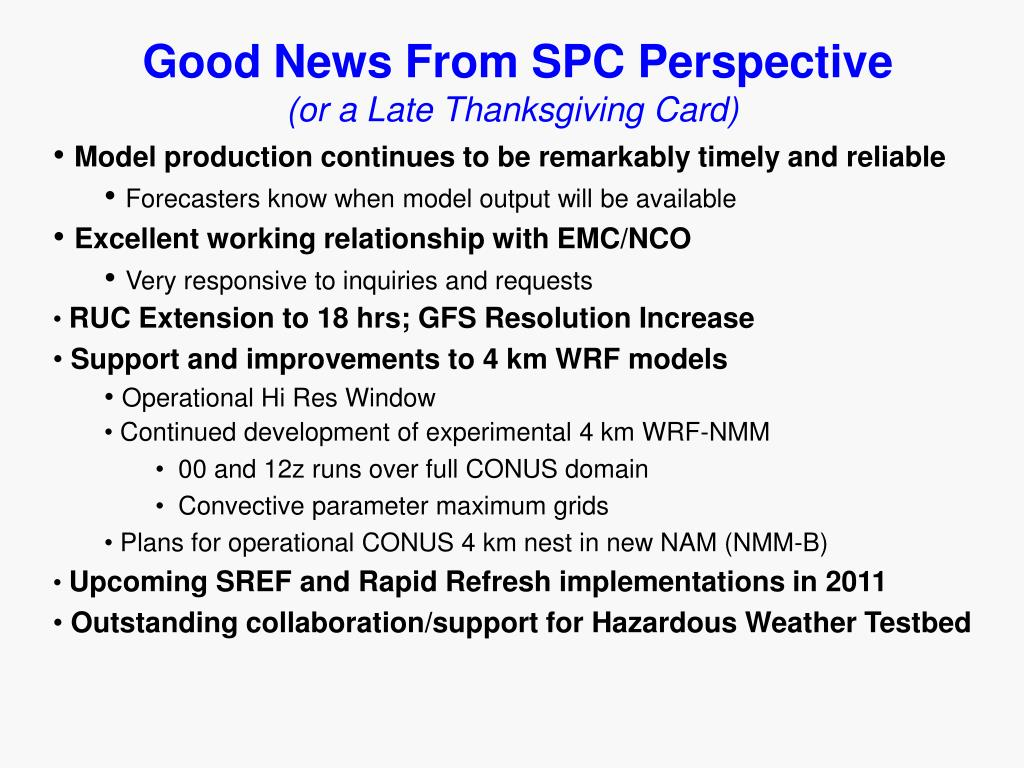 Good News From SPC Perspective