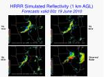 hrrr simulated reflectivity 1 km agl forecasts valid 00z 19 june 2010