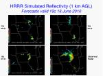 hrrr simulated reflectivity 1 km agl forecasts valid 19z 18 june 2010