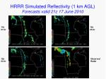 hrrr simulated reflectivity 1 km agl forecasts valid 21z 17 june 2010