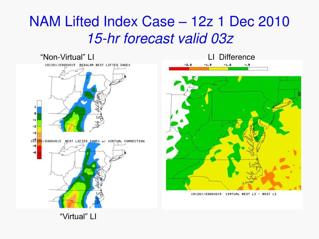NAM Lifted Index Case – 12z 1 Dec 2010