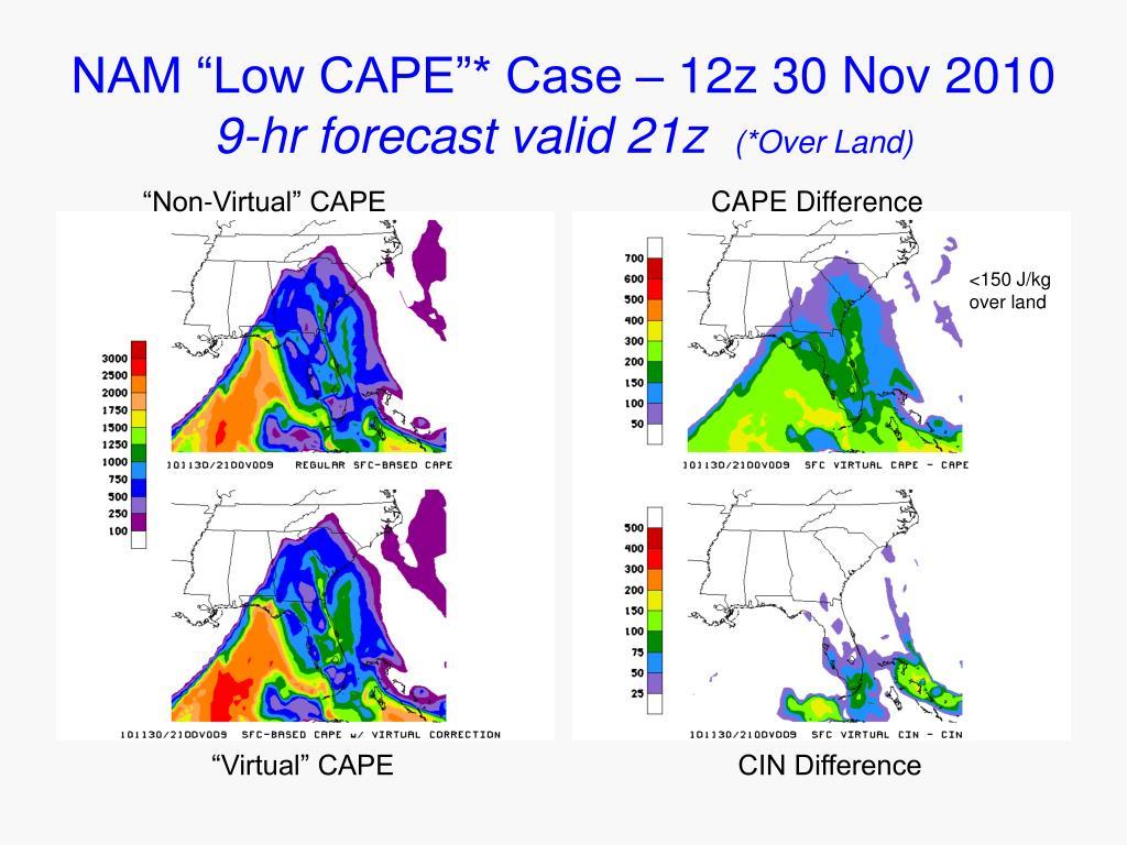 """NAM """"Low CAPE""""* Case – 12z 30 Nov 2010"""