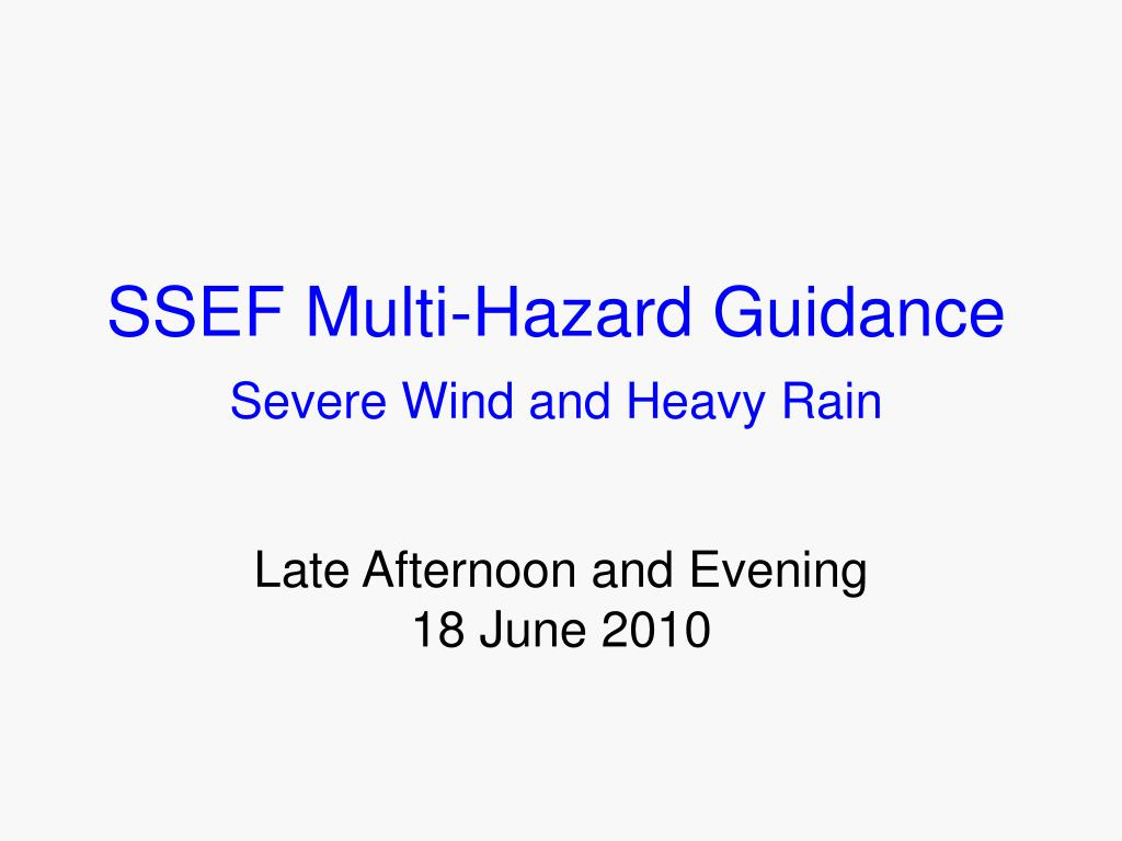 SSEF Multi-Hazard Guidance