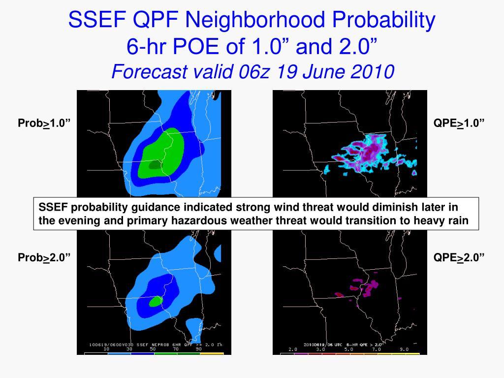 """SSEF QPF Neighborhood Probability     6-hr POE of 1.0"""" and 2.0"""""""