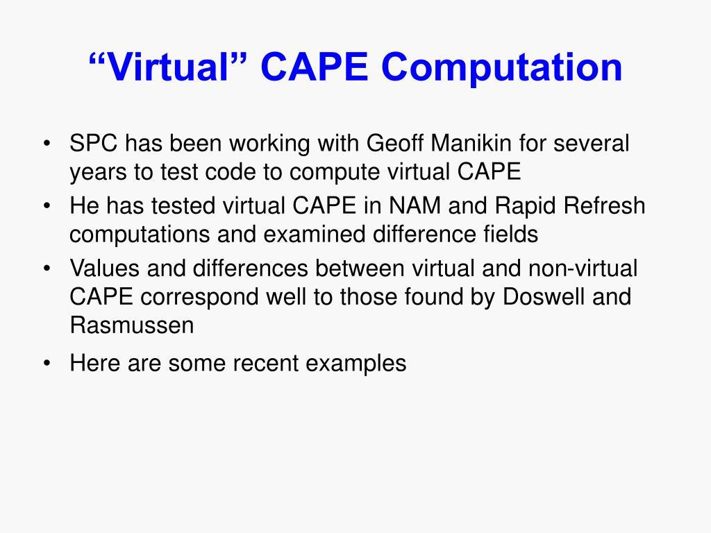 """""""Virtual"""" CAPE Computation"""