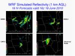 wrf simulated reflectivity 1 km agl 16 hr forecasts valid 16z 18 june 2010