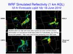 wrf simulated reflectivity 1 km agl 18 hr forecasts valid 18z 18 june 2010