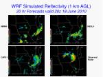 wrf simulated reflectivity 1 km agl 20 hr forecasts valid 20z 18 june 2010