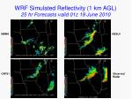 wrf simulated reflectivity 1 km agl 25 hr forecasts valid 01z 19 june 2010