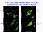wrf simulated reflectivity 1 km agl 26 hr forecasts valid 02z 19 june 2010