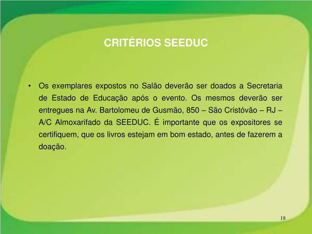 CRITÉRIOS SEEDUC