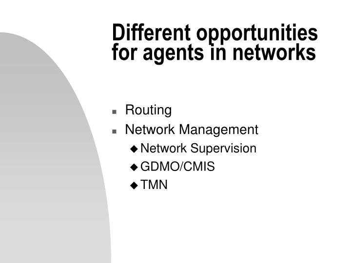 Different opportunities for agents in networks