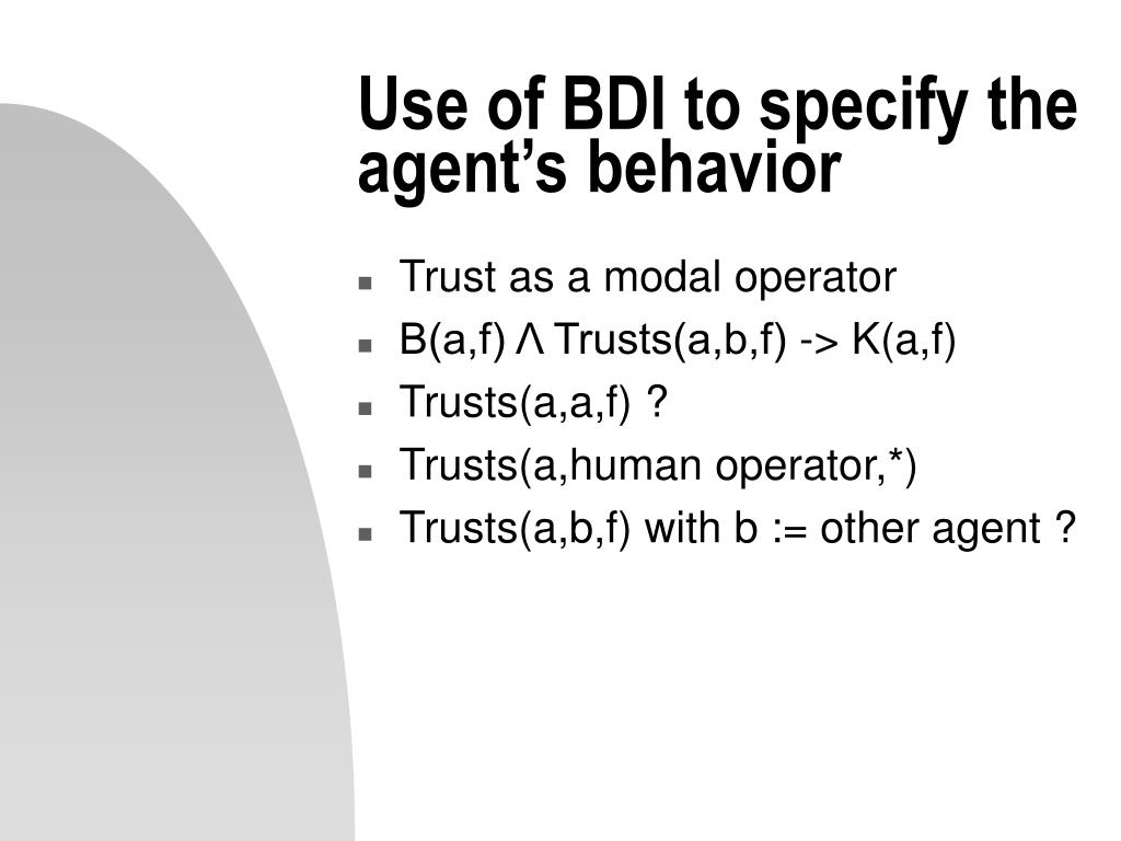 Use of BDI to specify the agent's behavior