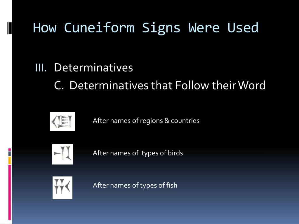 How Cuneiform Signs Were Used