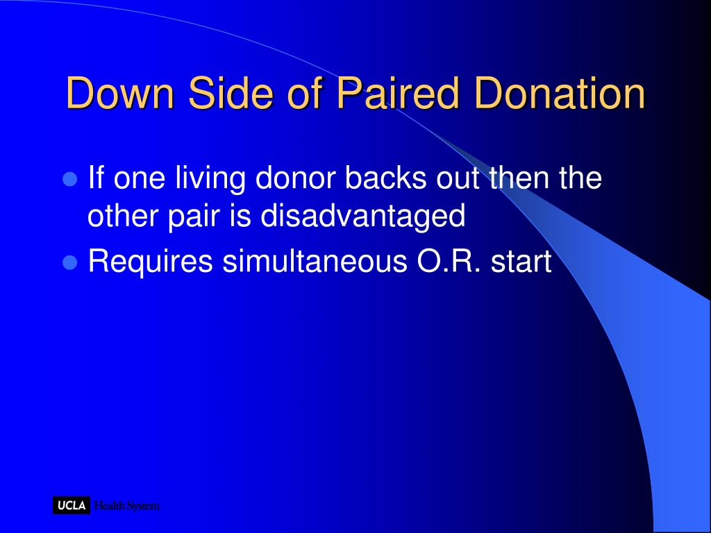 Down Side of Paired Donation