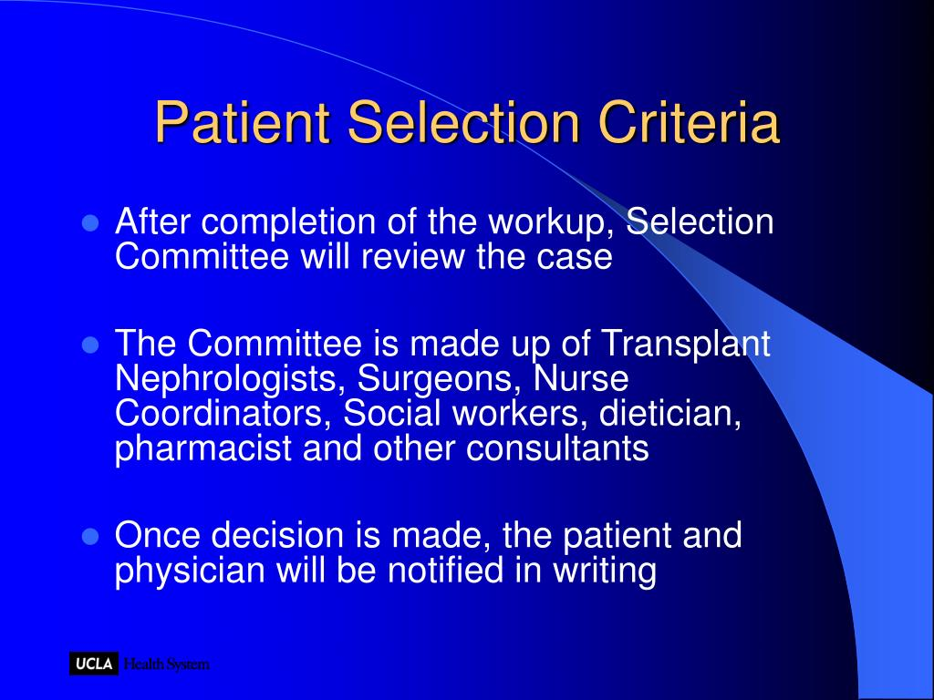 Patient Selection Criteria