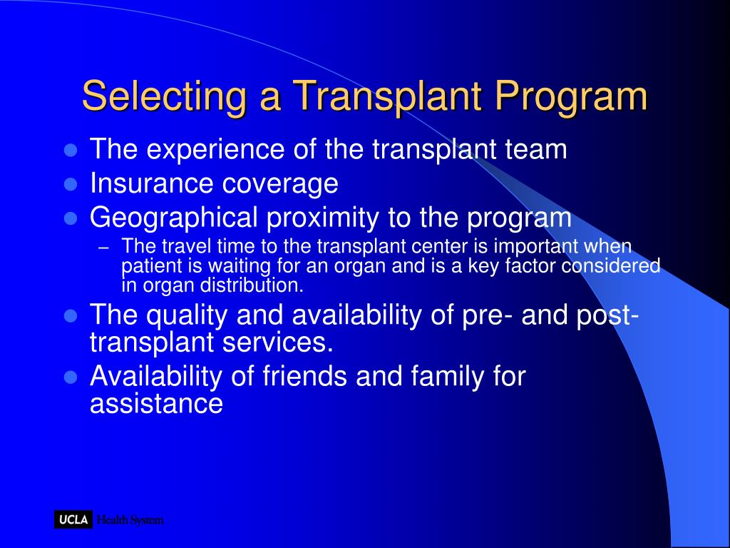 Selecting a Transplant Program