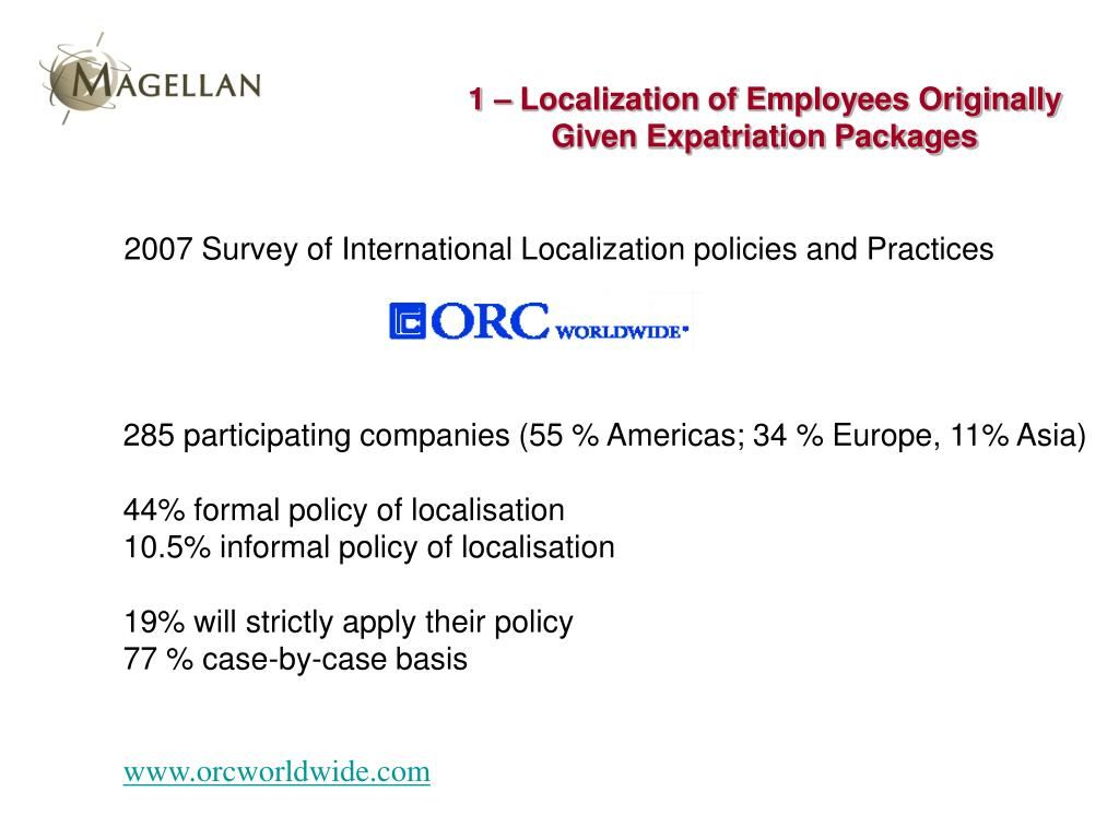 1 – Localization of Employees Originally Given Expatriation Packages