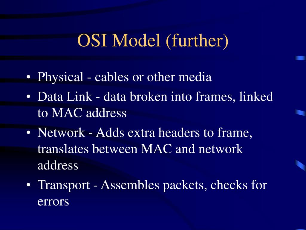 OSI Model (further)