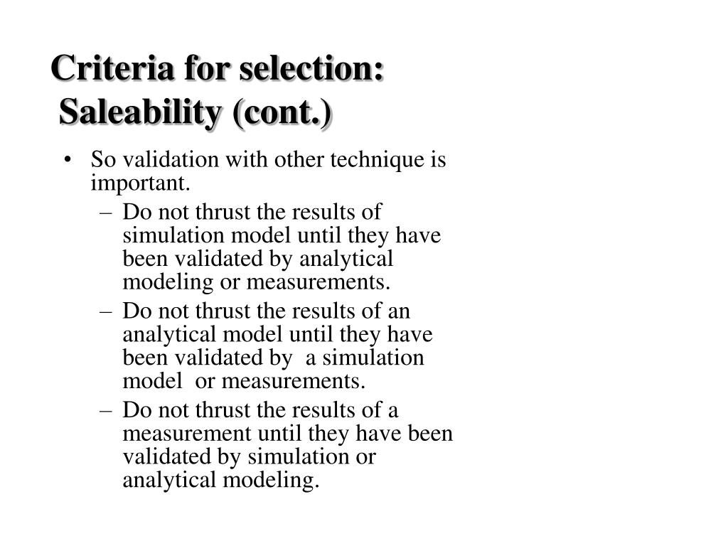 Criteria for selection:
