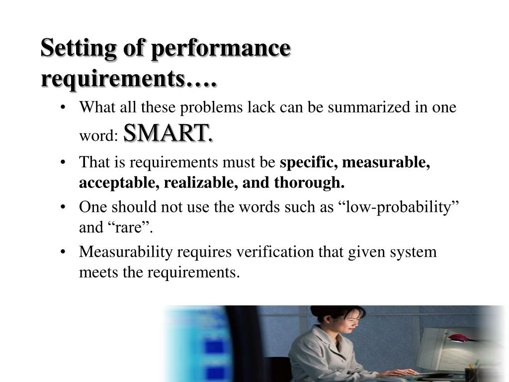 Setting of performance requirements….