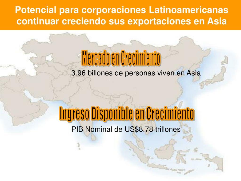 Potencial para corporaciones Latinoamericanas continuar creciendo sus exportaciones en Asia
