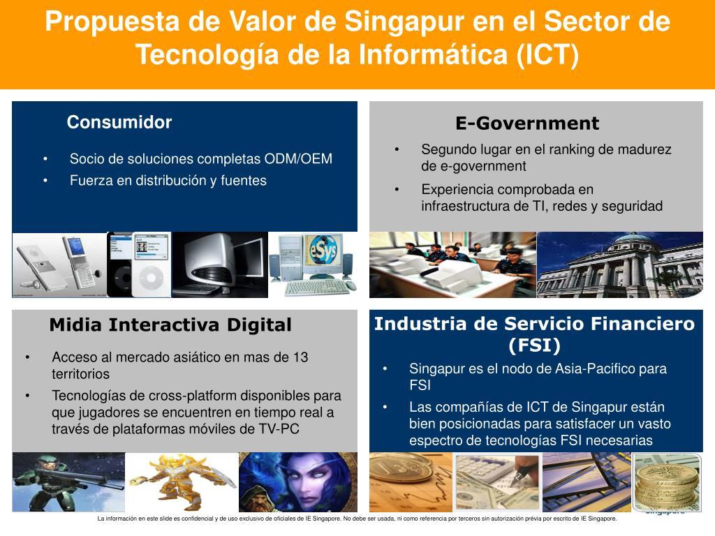 Propuesta de Valor de Singapur en el Sector de Tecnología de la Informática (ICT)