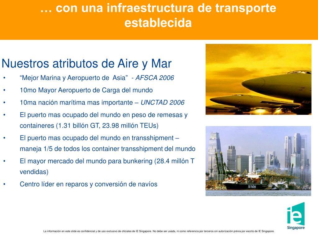 … con una infraestructura de transporte establecida