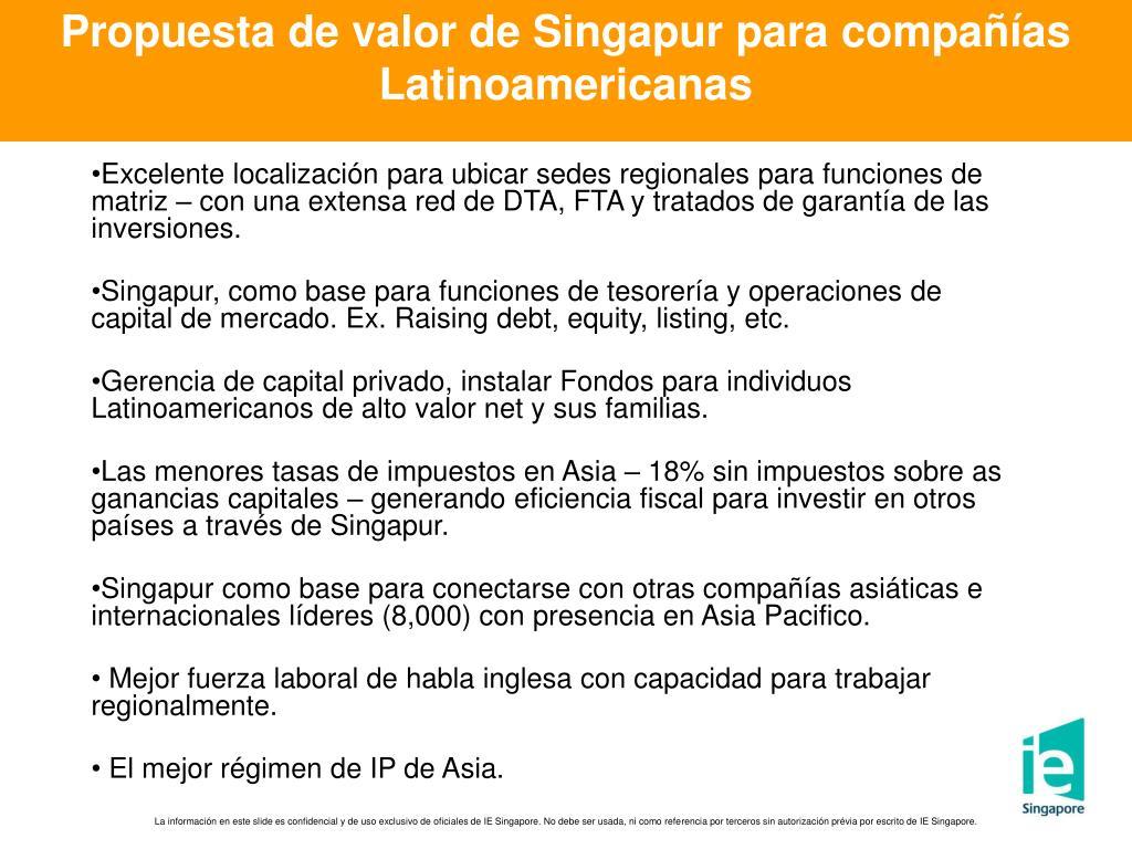 Propuesta de valor de Singapur para compañías Latinoamericanas
