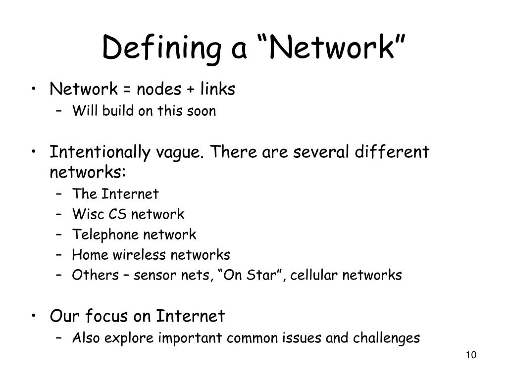 "Defining a ""Network"""