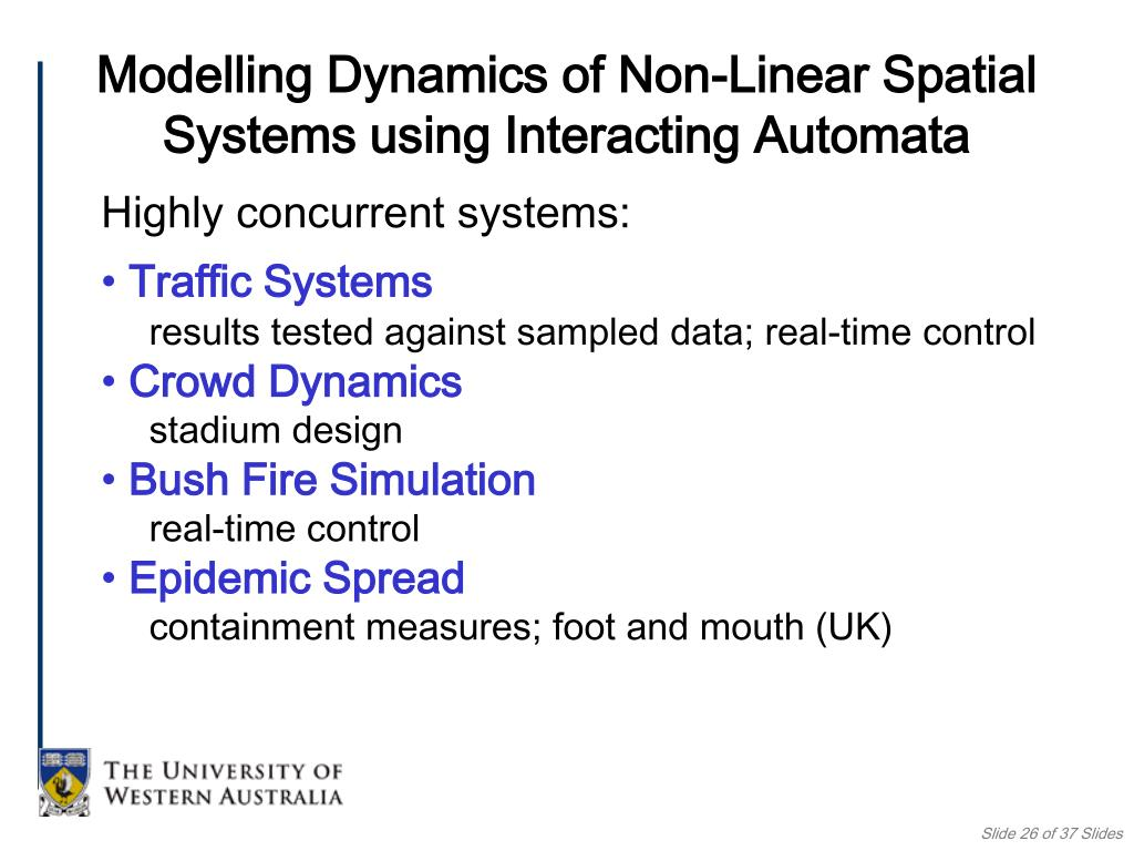 Modelling Dynamics of Non-Linear Spatial Systems using Interacting Automata