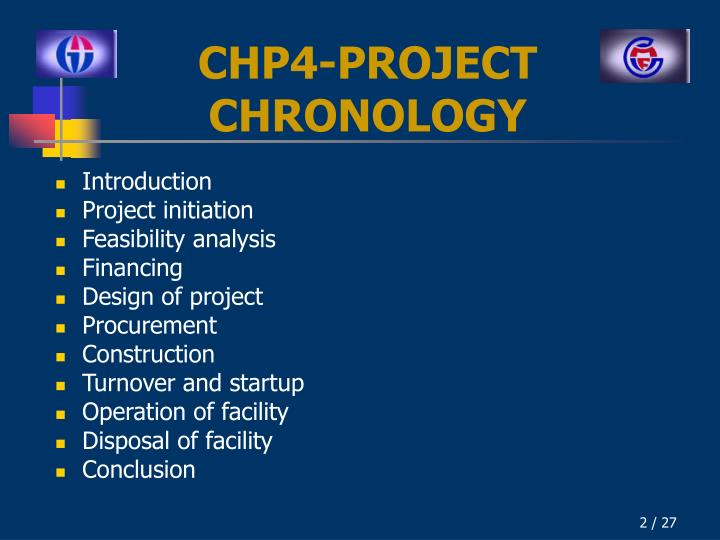 Chp 4 project chronology