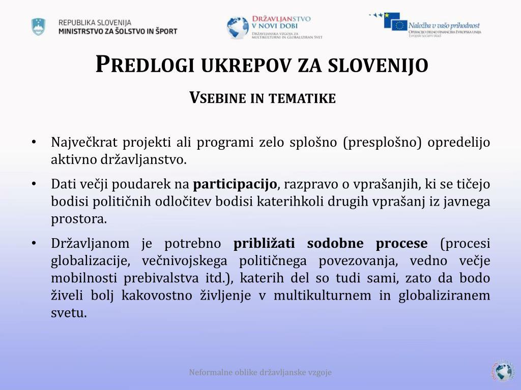 Predlogi ukrepov za slovenijo