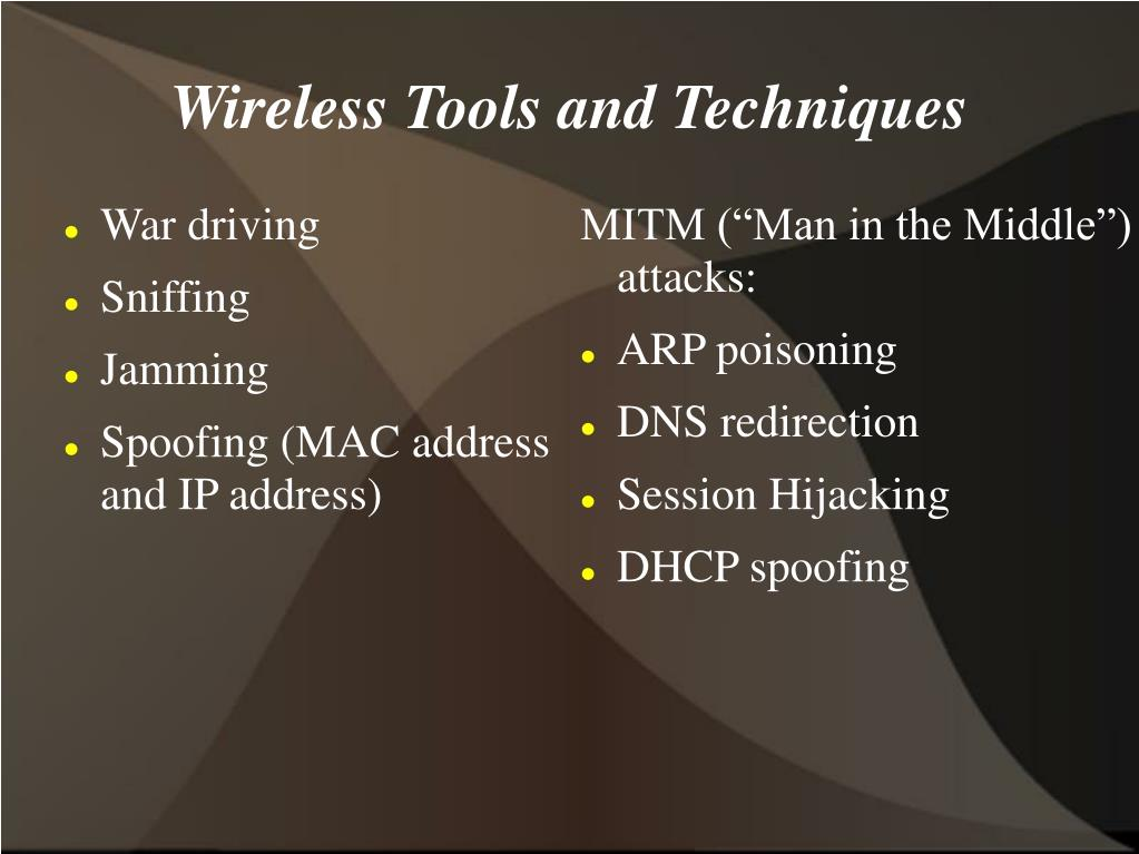 "MITM (""Man in the Middle"") attacks:"