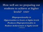 how well are we preparing our students to achieve at higher levels yisd