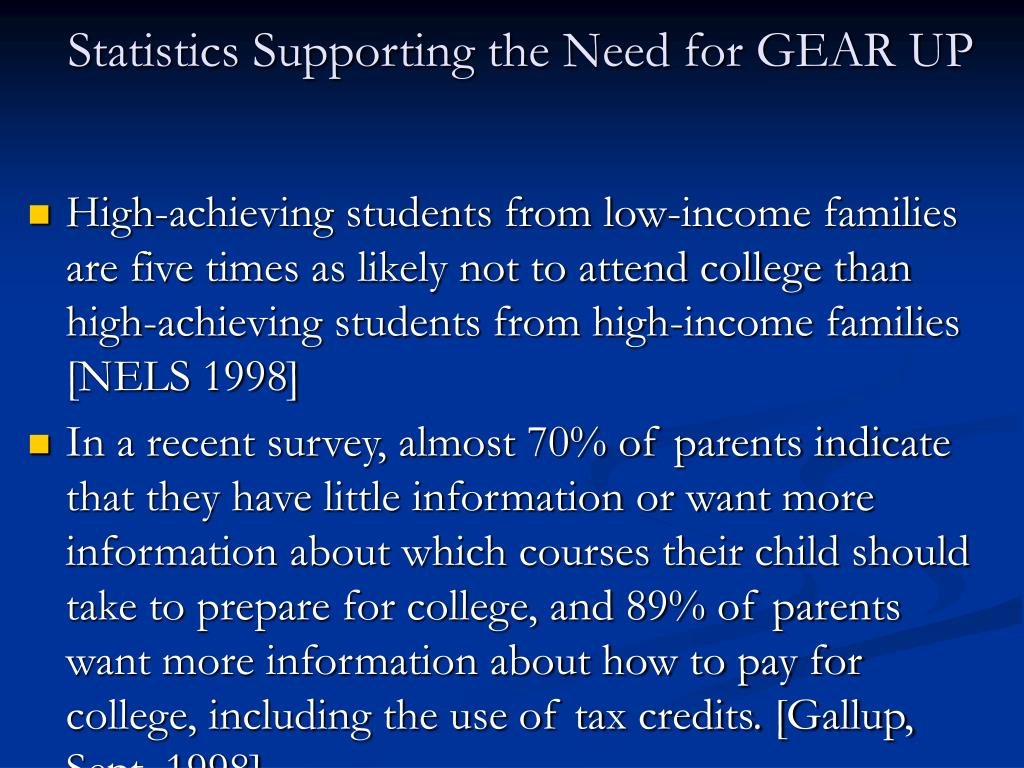 Statistics Supporting the Need for GEAR UP