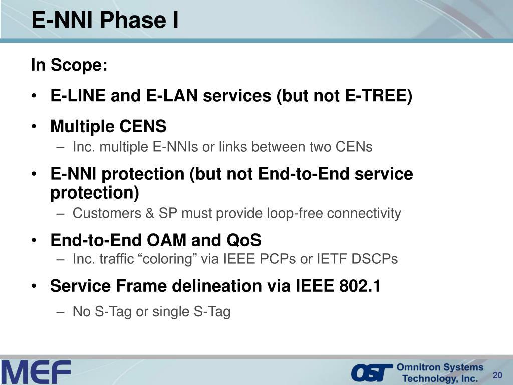 E-NNI Phase I