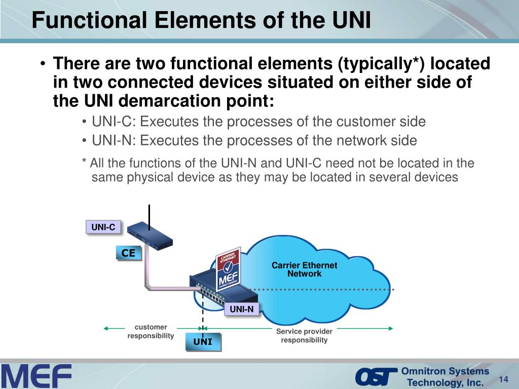 There are two functional elements (typically*) located in two connected devices situated on either side of the UNI demarcation point: