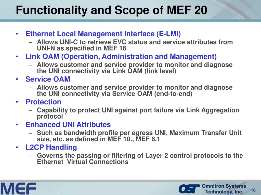Functionality and Scope of MEF 20
