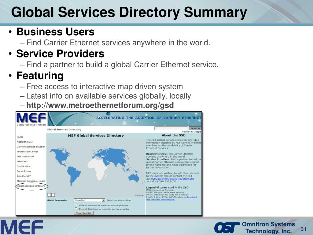 Global Services Directory Summary