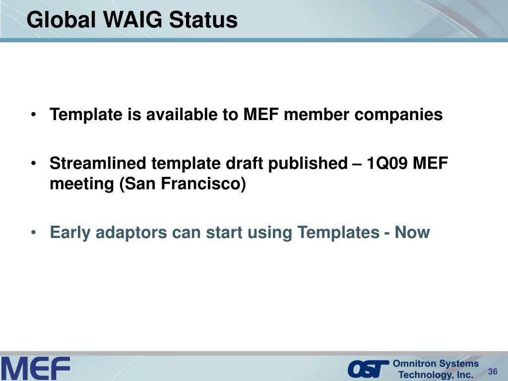 Global WAIG Status