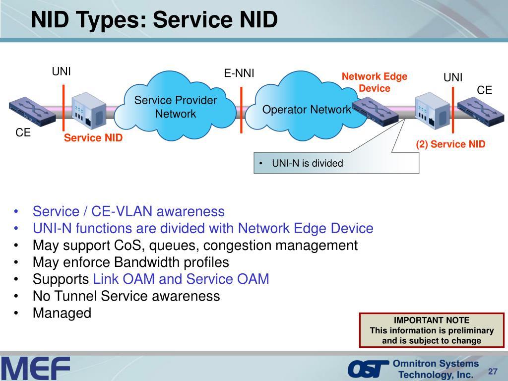 NID Types: Service NID