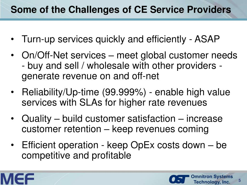 Some of the Challenges of CE Service Providers