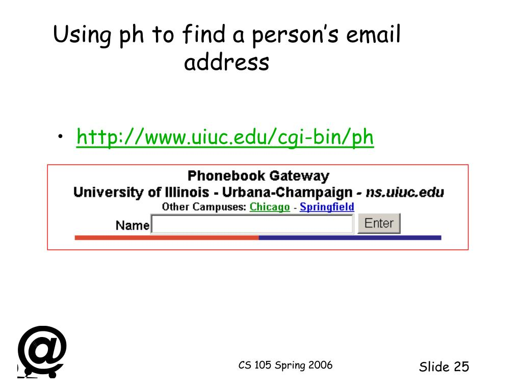 Using ph to find a person's email address